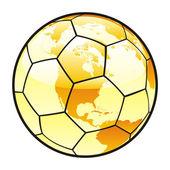 孤立的足球球与世界地图布局 — 图库矢量图片