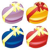 礼品盒心形状中的插图 — 图库矢量图片