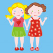 Illustration of two little girls waving — Stock Vector
