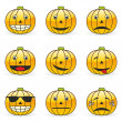 Illustration of pumpkin emoticons - Stock Vector