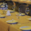 Stock Photo: Banquet table with flowers