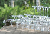 Washed rows of wineglasses — Stock Photo