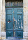 Old blue wooden door — Stock Photo