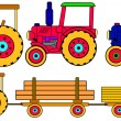 Colorful tractors - Stock Vector