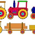 Постер, плакат: Colorful tractors