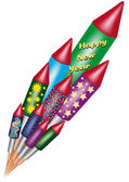 Bunch of bottle rockets — Stock Vector
