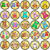 Round stamps with teddies — Stock Vector
