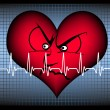 Stock Vector: Angry heart with cardiogram