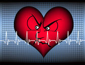 Angry heart with cardiogram — Stock Vector