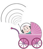 Baby in buggy with headphone — Stock Vector