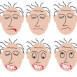 Six angry faces — Stock Vector