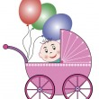 Buggy, baby and balloons — Stock Vector