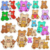 Collection of teddies — Stock Vector