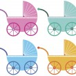Colorful baby buggies — Stock Vector