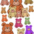 Collection of teddy bears — Stock Vector