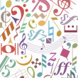 Colored music notes and signs — Stock Vector