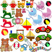 Big colorful toys collection — Stock Vector