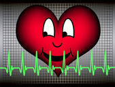 Směje se srdce s kardiogram — Stock vektor