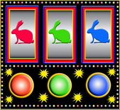 Slot machine with bunnies — Stock Photo
