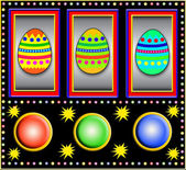 Slot machine with easter eggs — Stock Photo