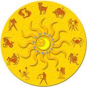 Złoty krąg z znaków zodiaku — Zdjęcie stockowe