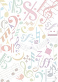 Pastel colored music notes — Stock Vector