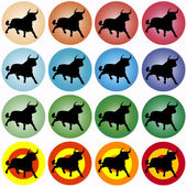 Colored circles with black bull — Stock Vector