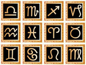 Złote kwadraty z znaków zodiaku — Wektor stockowy