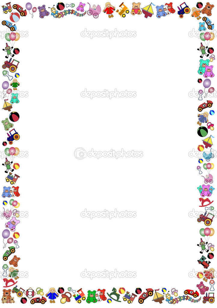Little Boys Toys Border : Border out of little colorful toys — stock vector