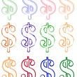 Stock Vector: Dollar sign in painting styles