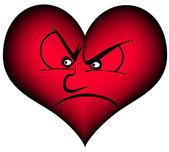 Heart suspiciously — Stock Vector