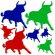 Plastic bulls in different colors — Stock Vector