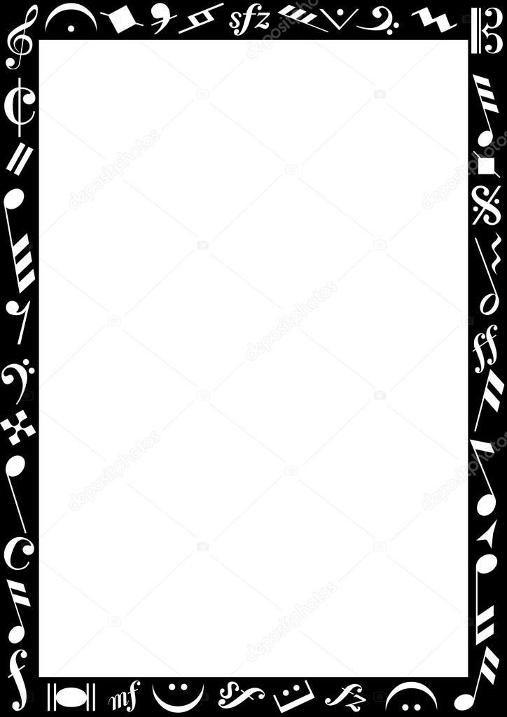 borda preta com sinais de m u00fasica  u2014 vetor de stock  u00a9 photovectorino  3506273