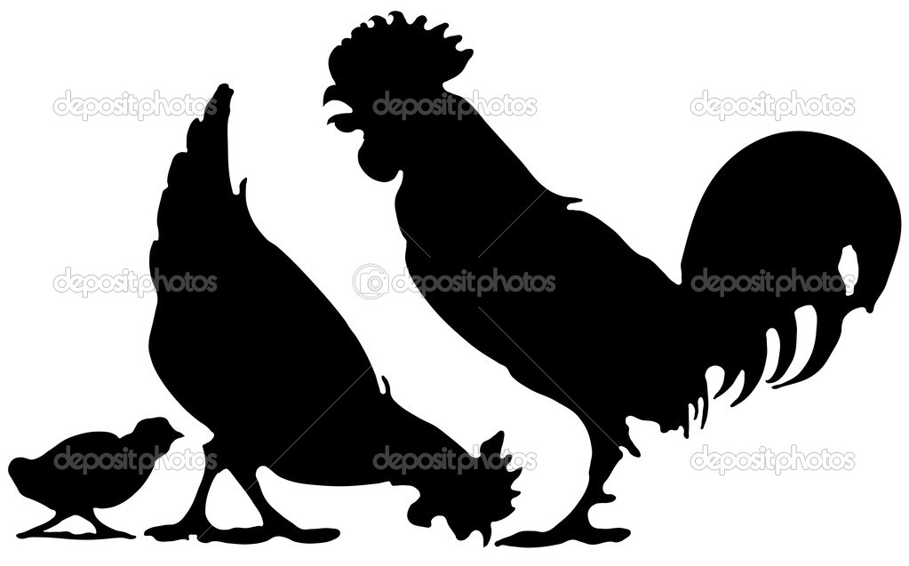 Black silhouette of a Chicken family on white background — Stock Vector #3506303