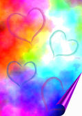 Boyalı yürekleri aquarell arka plan — Stok fotoğraf
