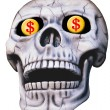 Skull with Dollar Signs — Stock Photo