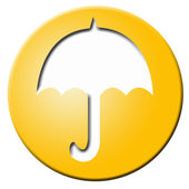 Golden button with umbrella — Stock Photo