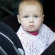 Stock Photo: Baby rides in car, fastened in chi