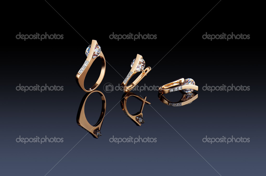 Beautiful ring and earrings on black  Stock Photo #3503486