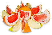 Apple slices and grapefruit — Stock Photo