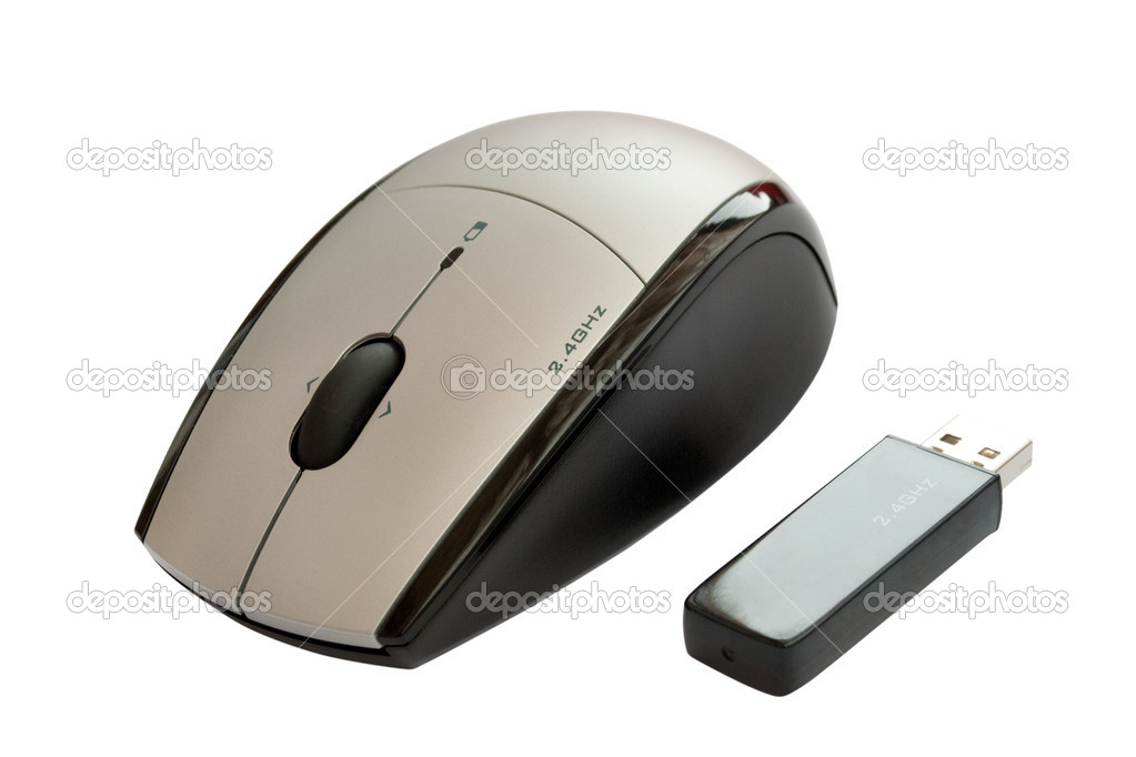 Wireless mouse with usb dongle isolated on white background  Stock Photo #3601677