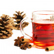 Red tea cinnamon sticks star anise and conifer cone — Stock Photo #3640280