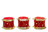 Three christmas ball ornaments in drum shape — Stock Photo