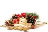 Arreglo de placa de navidad con la estatuilla del ángel — Foto de Stock