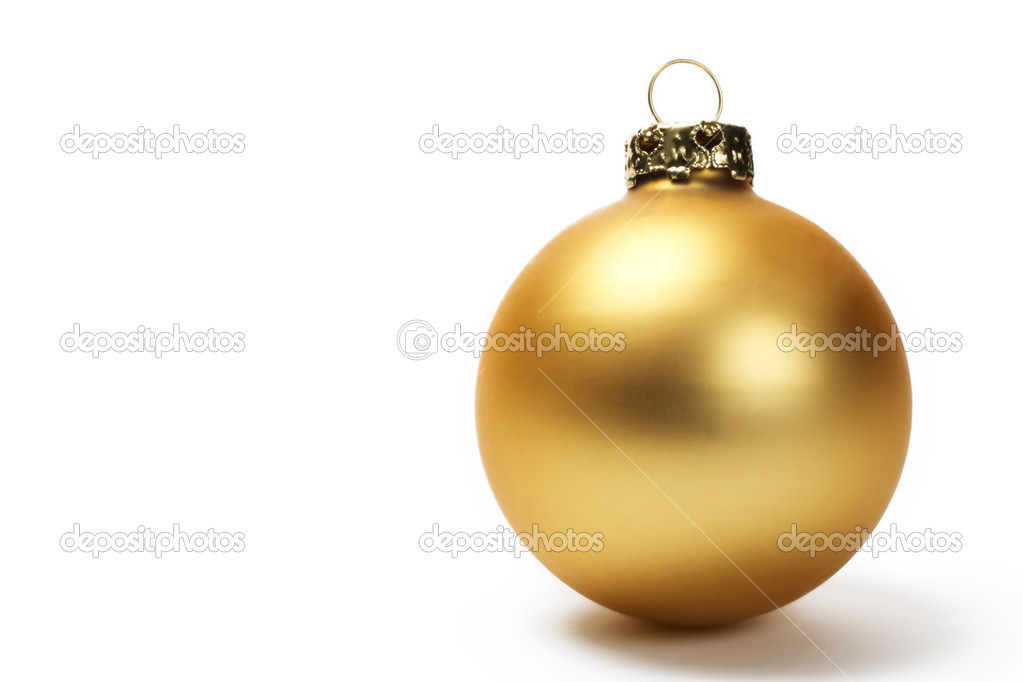 Golden dull christmas ball on white background  Stock Photo #3675124