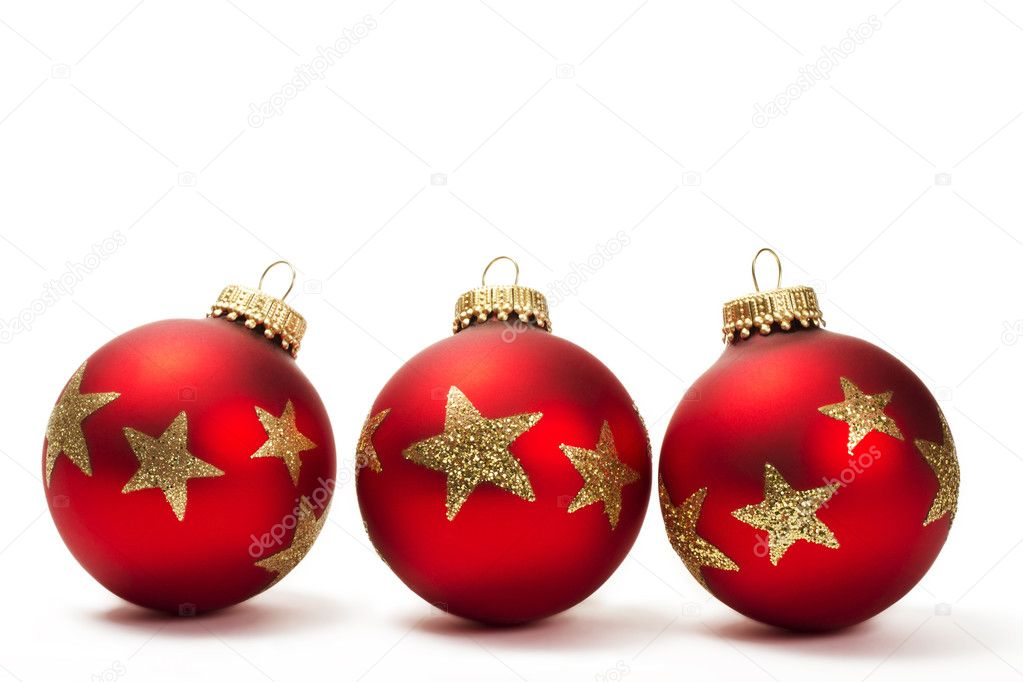Three red dull christmas balls with golden glitter stars on white background  Stock Photo #3675142