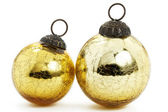 Two vintage golden christmas balls — Stock Photo