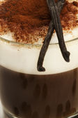 Closeup on coffee with milk froth cocoa powder with vanilla beans — Foto Stock