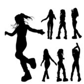 7 silhouettes of a girl — Stock Photo