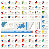 Stickers with all european flags — Stock Vector